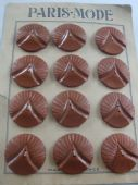 French Art Deco Early Plastic Buttons - On Original Card
